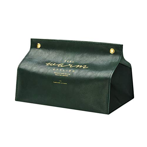 IslandseNew Leather Facial Tissue Box Cover Rectangular Napkin Holder Snap Closure (Green)