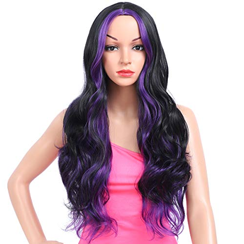 Amchoice Long Black Purple Wavy Wig with Highlights for Women Cosplay Synthetic Wigs Heat Resistant Middle Part Wigs