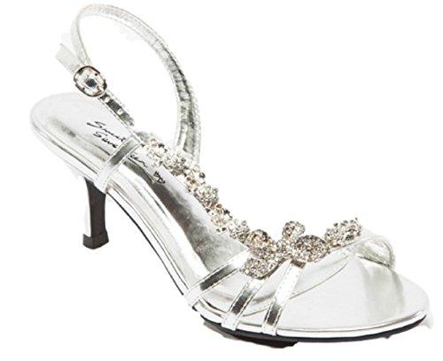 Sweet Seventeen Maisie-11 Prom Wedding Slingback Rhinestone Open Toe Kitten Heel Sandal Shoe Silver 8.5
