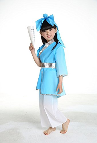Child Disciple Costume (Sky Blue 130CM-140CM tall girl children's clothing for boys and girls show nunnery Three Character Classic disciples regulation Sinology school student performance apparel clothing Chinese clothing)