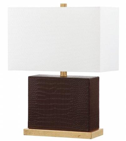 Safavieh Lighting Collection Delia Faux Crocodile Brown 20.5-inch Table Lamp - Brown Faux Crocodile Table Lamp