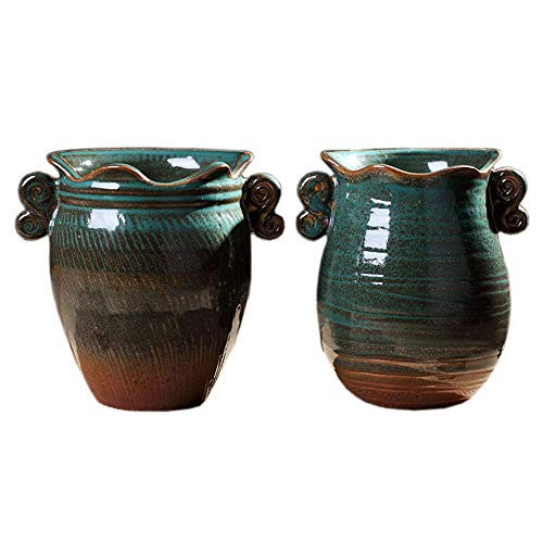Better-way Ceramic Drip Glaze Vase Rustic Decorative Shabby Chic Planter Tabletop Centerpiece Vintage Pots for Herb Succulent Small Plant Container (Two Pack) (Green)