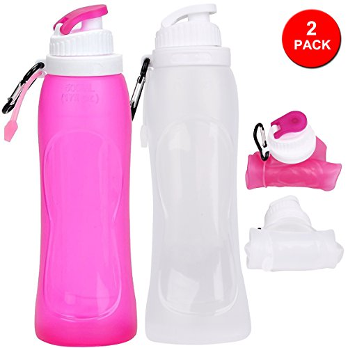 CASAPRO 2Pack Collapsible Water Bottle - 17oz Silicone Sports Water Bottle, Rollable and Foldable Cycling Water bottle With Aluminum Carabiner, BPA Free Liquid Silicone Water Bottle (PINK WHITE)