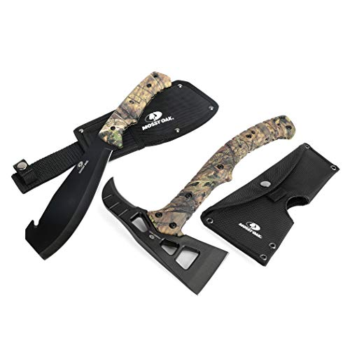 MOSSY OAK 2-Piece Hatchet and Machete Set with Sheath - Camo Handle - Outdoor, Survival, Hunting, Camping