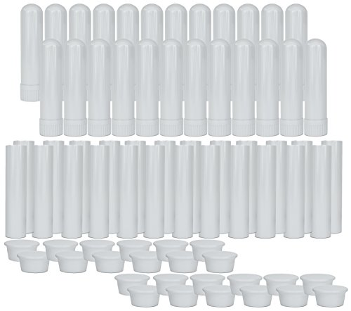 Essential Oil Aromatherapy White Nasal Inhaler Tubes (24 Complete Sticks), Empty Blank Nasal Inhalers for Essential Oils
