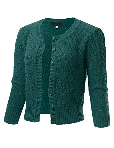 ARC Studio Womens Button Down 3/4 Sleeve Crewneck Cropped Knit Cardigan Crochet Sweater S Peacock