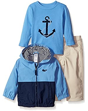 Baby Boys' Whale Jacket with Twill Pant Set