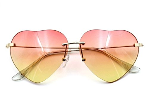 Flowertree Women's S5964 Rimless Frame Oversized Heart Shape Lens 63mm Sunglasses (pink - Sunglasses Shaped Oversized Heart