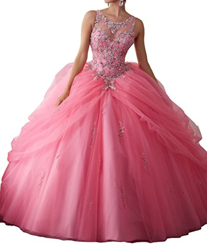 New Quinceanera Gown (TuanYuan Sweet Girls 16 Women New Quinceanera Ball Gowns Vestidos Pageant Dresses Pink 2US)