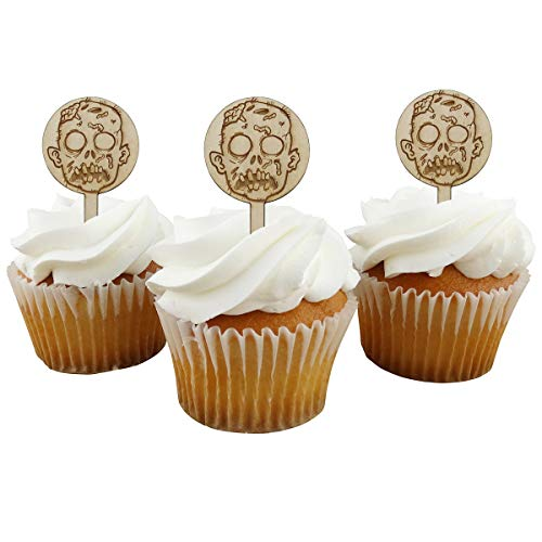 Zombie Head Cupcake Toppers Laser Engraved Wood Set of 12 - Halloween Walking Dead Theme Party Decor -