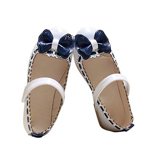 Brinny Kinder Mädchen Prinzessin Schuhe Wohnungen Lederschuhe Ballerinas Bowknot Velcro Partei Casual Schuhe Blau / Pink / Weiß 16 Größe: 21-36 Weiß