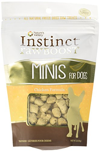 Instinct Freeze Dried Raw Boost Minis Grain Free Chicken Formula All Natural Dog Treats by Nature's Variety, 3.25 oz. Bag