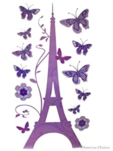 Colorful Paris Eiffel Tower Wall Mural Stickers Wallies