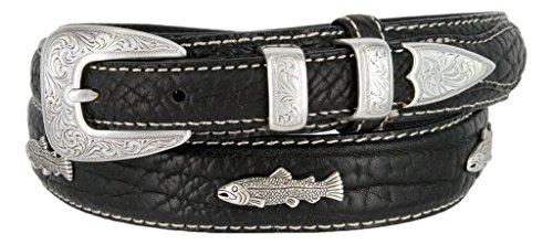 Western Silver Engraved Fish Ranger Genuine Leather Bison Belt for Men (Black, 40)