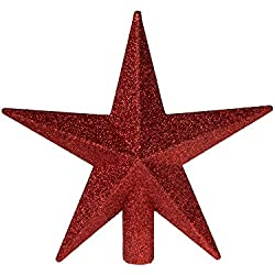 "Red Glitter Star Tree Topper by Clever Creations | Dimensional 5 Points | Festive Christmas Décor | Perfect Complement to Any Holiday Decoration | Unlit Shatter Resistant Sparkled Plastic | 8"" Tall"