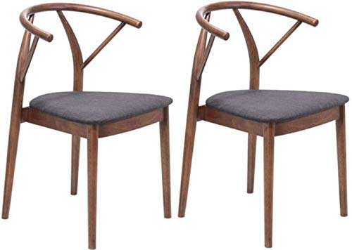 "Zuo Modern 100156 Communion Chairs (Set of 2), Espresso, Elegant All Wood Design, Walnut Finish to Legs and Rounded Back, Comfortable Seat in Poly-linen Upholstery, Dimensions 19.7""W x 29.9""H x 18.5""L"