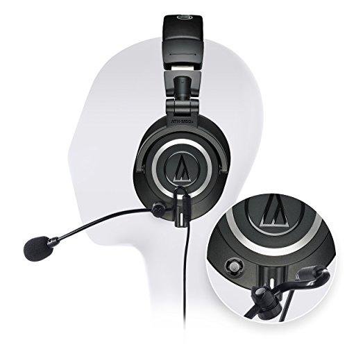 Audio Technica ATH-M50X Professional Studio Headphone -INCLUDES- Antlion Audio ModMic 5 Modular Attachable Boom Microphone + Blucoil Y Splitter by blucoil