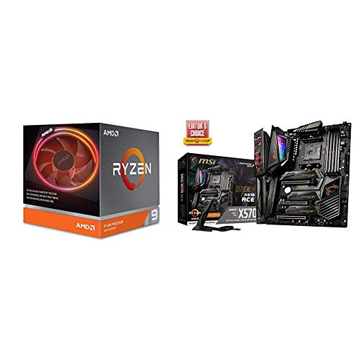 AMD Ryzen 9 3900X 12-core, 24-Thread Unlocked Desktop Processor with Wraith Prism LED Cooler with MSI MEG X570 ACE Motherboard
