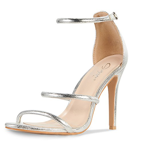 JSUN7 Women's Sexy Open Toe High-Heeled Stiletto Ankle Strap Wedding Party Bridal Sandal Dress Pump Silver