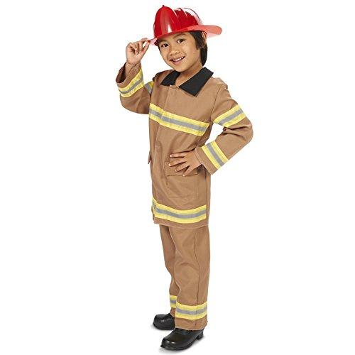 Dark Helmet Halloween Costumes (Tan Firefighter with Helmet Child Dress Up Costume M (8-10))