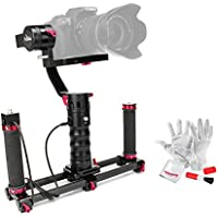 Beholder DS1 3 Axis Brushless Handheld Gimbal Stabilizer 32-bit Controller with Dual IMU Sensors D2 Carbon Fiber Dual Handle Grip and 39/1m Wired Remote Control Cable for DSLRs Max.Weight 3.7lb
