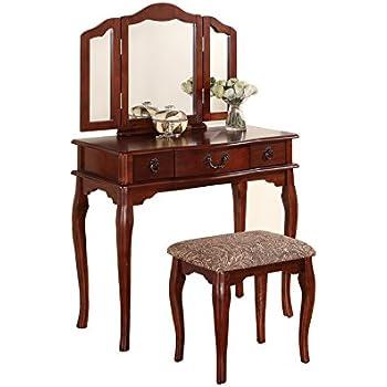 Poundex Bobkona Susana Tri Fold Mirror Vanity Table With Stool Set, Cherry