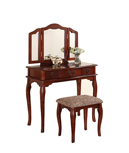 Poundex-Bobkona-Susana-Tri-fold-Mirror-Vanity-Table-with-Stool-Set-Cherry