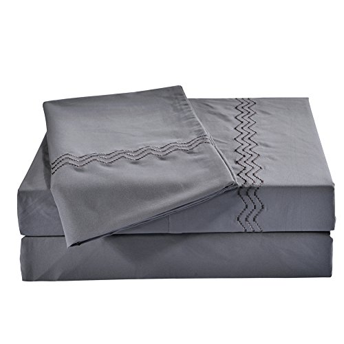 Joyful Store Embroidered Bed Sheet Set,Triple Lines Embroidery 288F Double Brushed Microfiber Bedding Set,4-Piece(1 Flat Sheet 1 Fitted Sheet And 2 Pillowcases) (16
