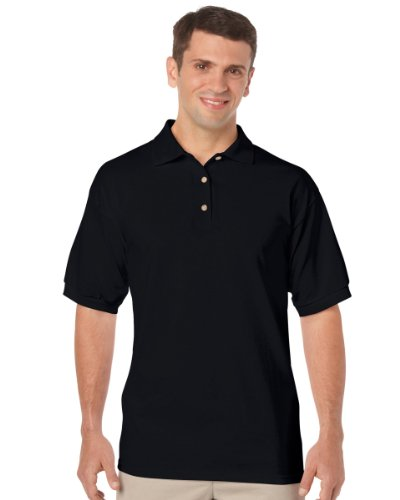 Gildan Adult DryBlend Jersey Short Sleeve Polo Shirt (L) (Black)
