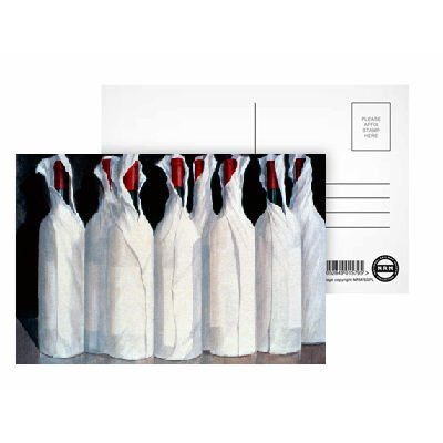 Wrapped Wine Bottles, Number 1, 1995 (acrylic on paper) by Lincoln Seligman - Postcard (Pack of 8) - 6x4 inch - Art247 Highest Quality - Standard Size - Pack Of 8