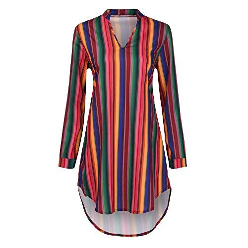 Birdfly Women Stylish Colorful Striped Loose Chiffon Mini Dress Button Sleeved Streetwear Blouse Top (S, Colorful)