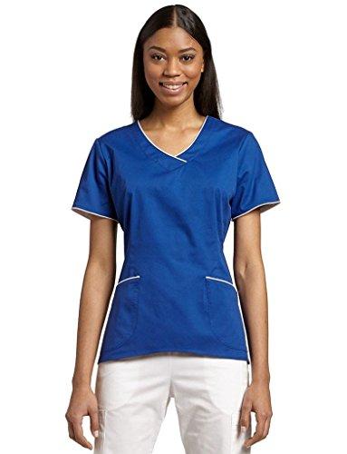 White Cross Women's 'Allure' Color Mixer Contrast Trim V-Neck Scrub Top, Galaxy Blue, (Contrast Trim V-neck Scrub Top)