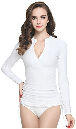 ilishop Women's UV Sun Protection Long Sleeve Rash Guard Wetsuit Swimsuit Top White ()