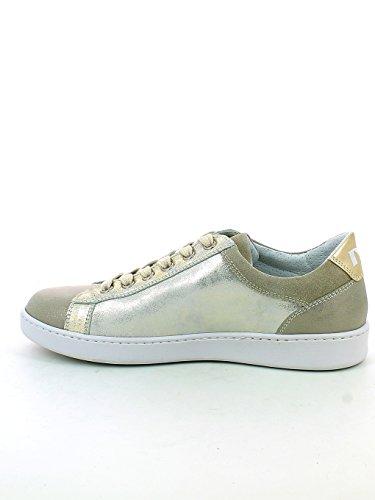 Sneaker in Camoscio Perlato con Dettagli Oro N. 37