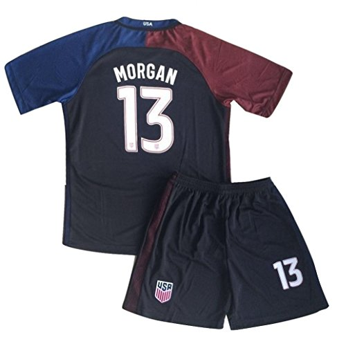 Morgan Jersey and Shorts #13 New USA National 3rd Alex for Kids/Youth Black (9-10 Years Old)