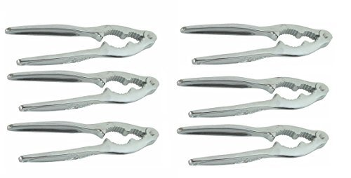 - 6 inch nut cracker and lobster opener, chrome plated zinc alloy, pack of 6
