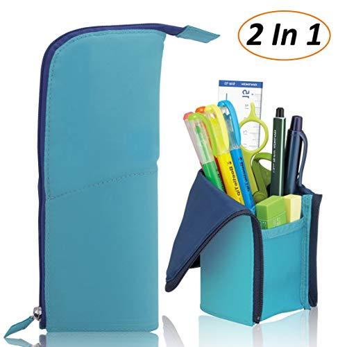 AlexBasic 2 in 1 Large Pencil Case Transformer Pencil Box Desktop Pen Stand Bag with Zipper, Teal