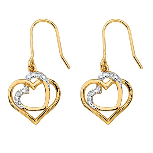 Pave Diamond Heart Earrings (White Diamond Accent 14k Gold-Plated Pave-Style Intertwined Heart Drop Earrings)