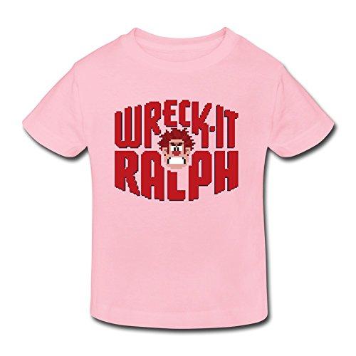 MeiLee Kid's Toddler Wreck It Ralph Logo Short Sleeve Little Boys And Girls Shirt Pink 2 Toddler