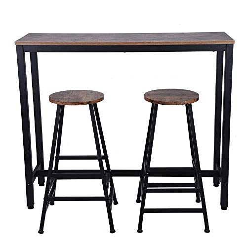 Thaweesuk Shop Household Pub Table Counter+Chair Furniture Set Home Kitchen Bar Dining Thick Steel Pipe Thick MDF Table Size 47.2