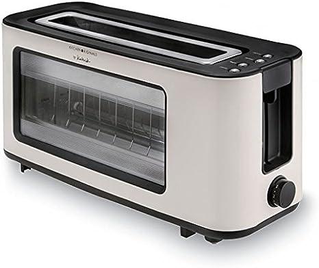 Team Kalorik Tkg To 1012 Kto Long Slot Toaster With Glass Window Infrared Heating Technology Separate Bun Attachment Integrated Crumb Tray 1100 W Cream White Amazon De Home Kitchen