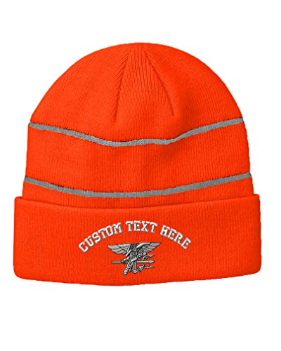 Custom Text Embroidered Navy Seal Silver Logo Unisex Adult Acrylic Reflective Stripes Beanie Skully Hat - Neon Orange, One Size