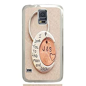 S5 case ,Samsung Galaxy S5 case ,fashion durable transparent side design Samsung Galaxy S5 case, pc material phone cover ,with I Love You To The Moon And Back Keychain .