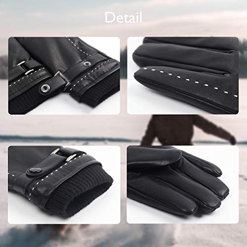 Winter Black Faux Leather Touchscreen Gloves For Women Driving Dress Gloves With Fleece Lined PU Leather Gloves(M-7.5\'\', BLACK)