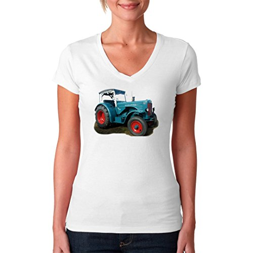 Traktoren Girlie V-Neck Shirt - Traktor Hanomag R60 Oldtimer by Im-Shirt Weiß lKEfz4sOh