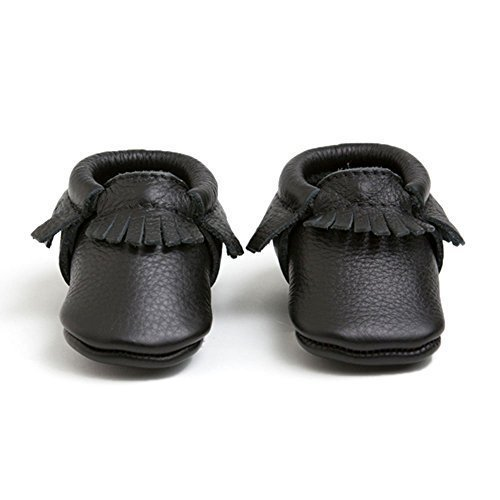 Freshly Picked Soft Sole Leather Baby Moccasins - Ebony - Size 5 by Freshly Picked