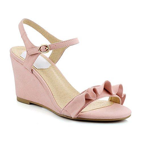AmoonyFashion Womens Open Toe High Heels Buckle Solid Sandals Pink