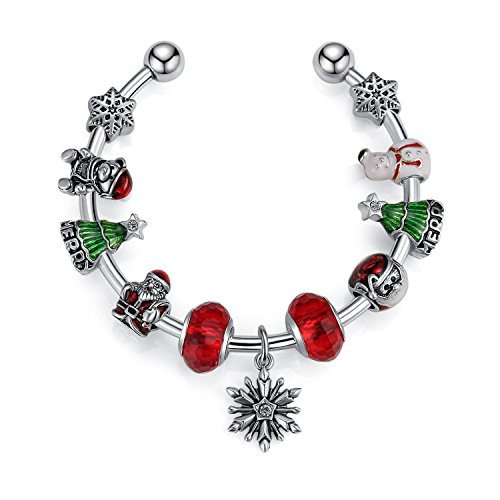 Crystal Tree Austrian Christmas (Silver Tone European Charm Bracelet, Christmas Beads,Santa Beads,Snowman Tree,Christmas Tree DIY Jewelry Making Kit 3 By ROUNT.CL)