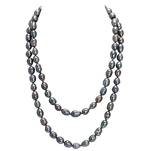 PEARLADA Magnificent Rice Peacock Long Big Pearl Necklace Endless with Irregularly Shaped, 47