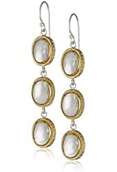 """Anna Beck Designs """"Gili Mother Of Pearl"""" Gold Plated Large Triple Drop Earrings"""